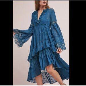 Maeve teal blue Chiffon Lace Ruffle Hi Lo  Dress S